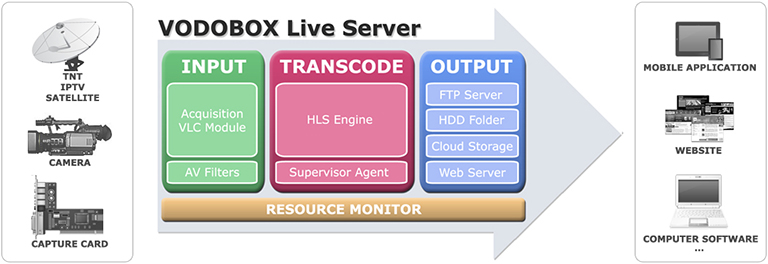Diagram of VODOBOX Live Server software