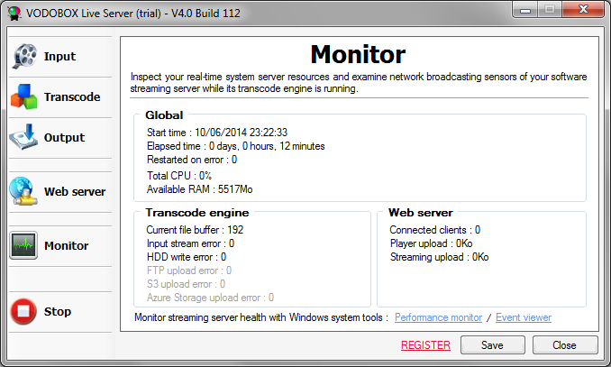 Monitor VODOBOX Live Server health while running