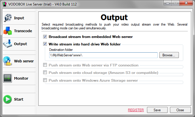 Select broadcast modes into VODOBOX Live Server