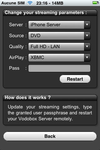 Modifiez a distance les reglages de votre serveur de streaming VODOBOX iPhone Server