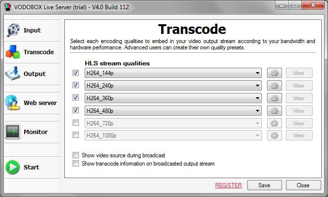 Choose broadcast qualities for the HLS video stream